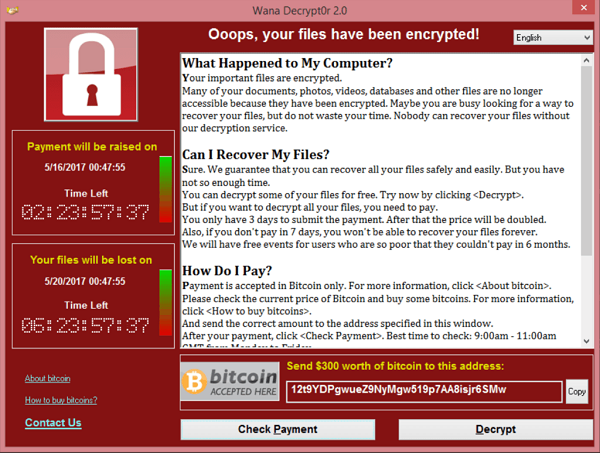 Screenshot des WannaCry-Trojaners